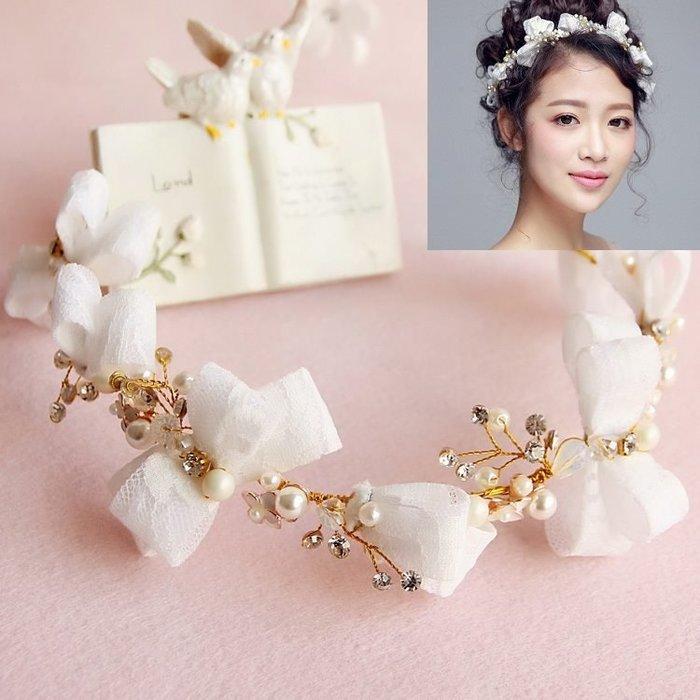 新娘飾品瑪姬主義-  F008蕾絲蝴蝶結水鑽珍珠髮箍