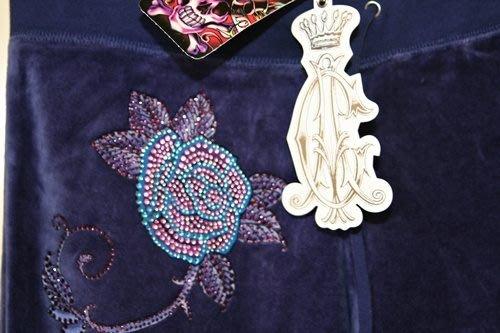 ALL NEW ED HARDY Christian Audigier velour LOVE ROSE PANTS水鑽玫瑰藍紫色天鵝絨長褲