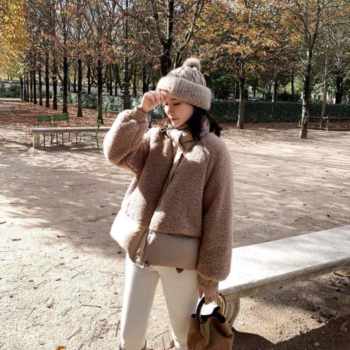 ❤JM SHOP韓風❤仿羊羔毛拼接時尚短款羽絨服