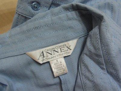 AJ衣飾 美國品牌ANNEX  大尺碼 車繡條紋藍色長袖襯衫(xl)