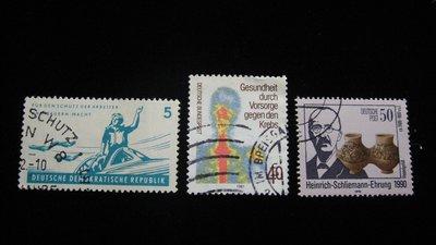 【大三元】歐洲郵票-13.德國郵票-銷戳票3枚
