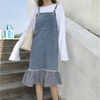 夏季新款韓版復古下擺格子百搭牛仔背帶裙寬松顯瘦中長裙連衣裙女