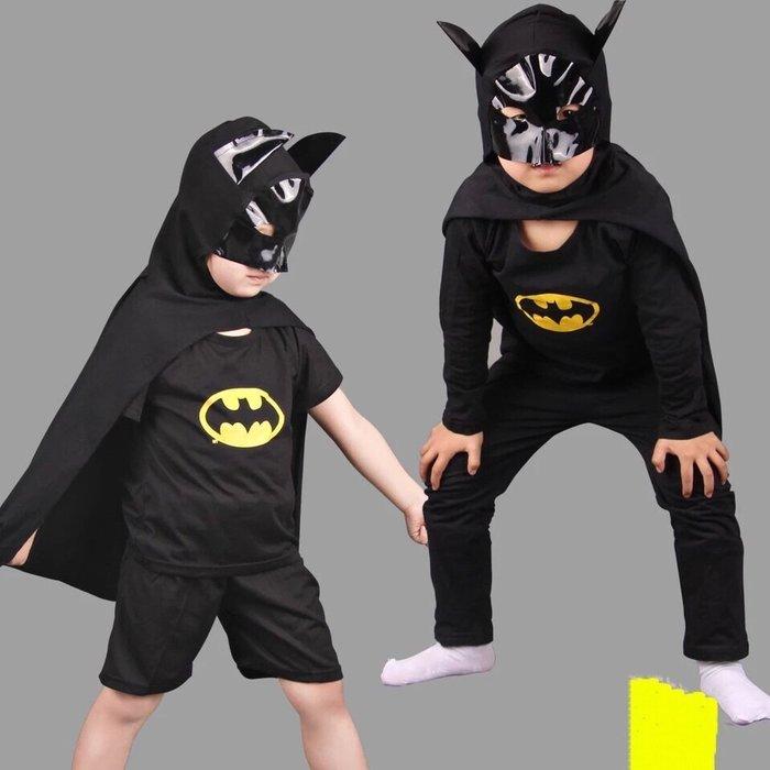 萬聖節兒童蝙蝠俠動漫表演出服裝童裝男童短袖夏裝蝙蝠俠衣服套裝 閃 現貨--崴崴安兒童館