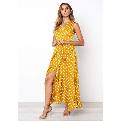 妮妮韓國服飾店~Ladies' point temperament wave point falbala spring dresses