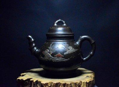 大金壺-早期原礦黑朱泥  土胎漂亮   好泡好養 五色泥手工泥繪貼花 柴燒  大清乾隆年製