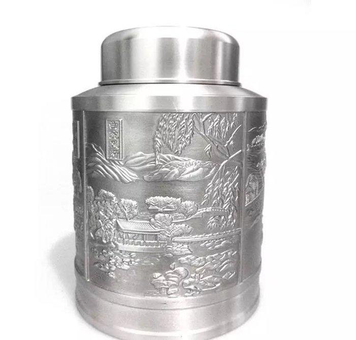 """【精緻生活館】 純錫茶罐/錫罐-大款""""西湖風光""""茶葉罐"""