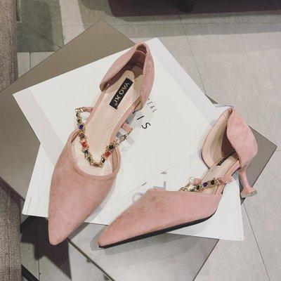 Ekool正韓鞋包~ 春季新款尖頭淺口女高跟鞋套腳工作鞋鏈條水鉆瑪麗珍女鞋