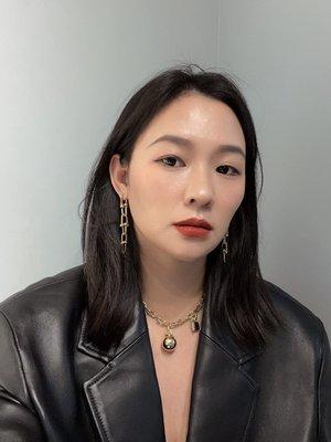 早回家的小貓韓劇頂樓李智雅同款長款粗鍊條耳環2021年新款潮高級感耳墜法式