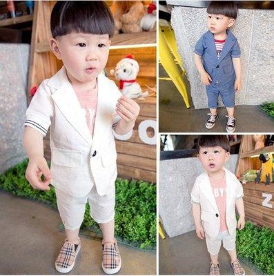 ♥ 【BS0075】 韓版男童裝棉麻西裝套裝 2色 (藍色 米白 現貨) ♥