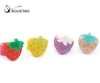 BHI1138-法國品牌RenaChris 施華洛世奇晶鑽草莓髮夾 瀏海夾 小扣環【韓國製】