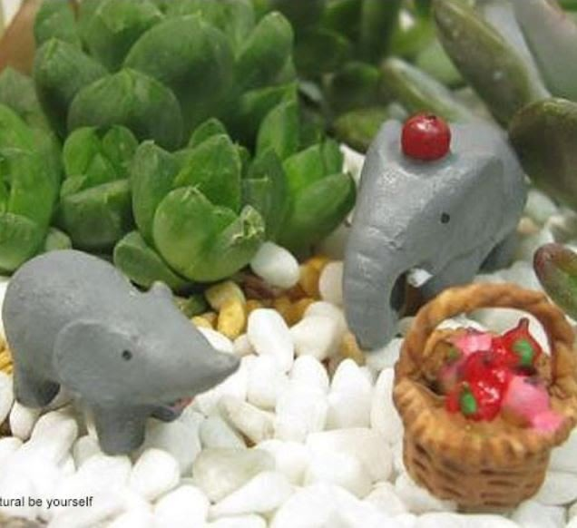 Miss  Q(現貨)【M-8005-A098】 園藝組盆小物~小象水果籃三件組