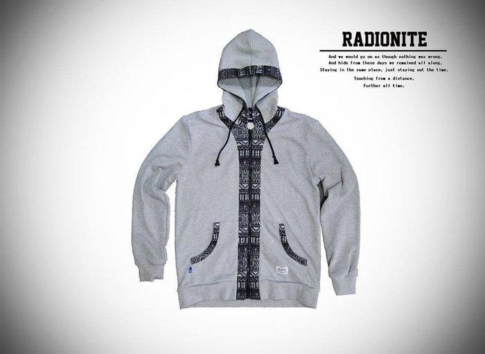 美國東村【RADIONITE】Full-Zip Hoodie 民族提花連帽外套 灰色