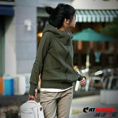 * Catwalks 搖滾の貓 * 素色高領連帽款休閒衛衣外套 ( 軍綠、灰色、黑色 )