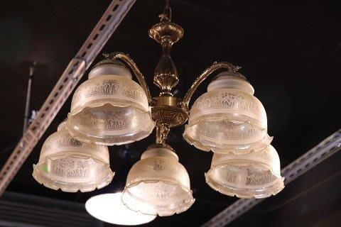 【卡卡頌 OMG歐洲跳蚤市場 / 西洋古董 】歐洲古董典雅5頭玻璃罩造型吊燈  l0082✬