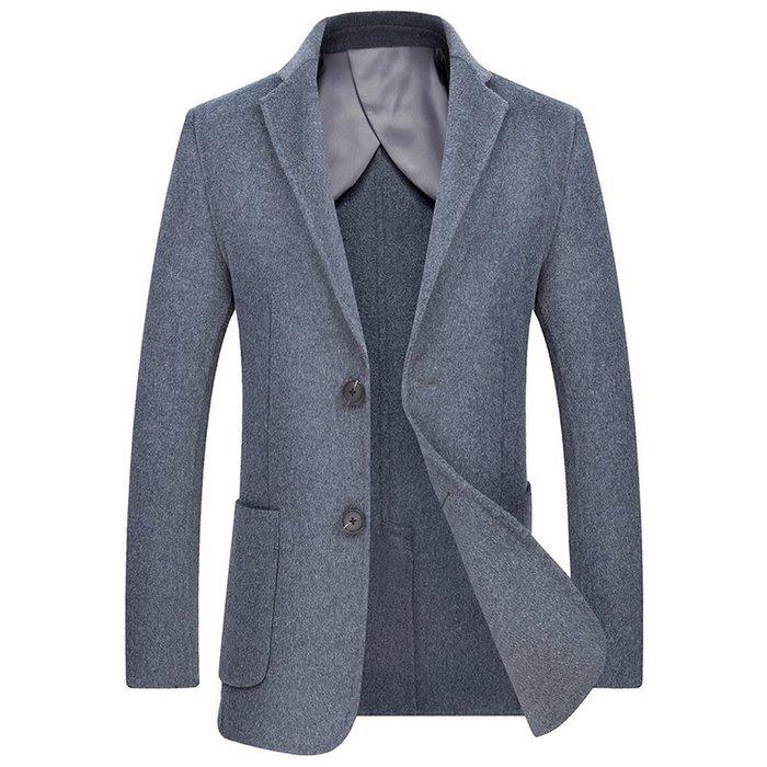 毛呢大衣 西裝外套-休閒修身短款羊毛男外套3色73wk20[獨家進口][米蘭精品]