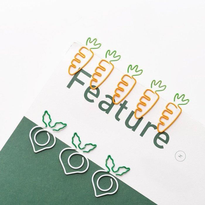 胡蘿蔔造型迴紋針 白蘿蔔書簽別針可愛卡通曲別針