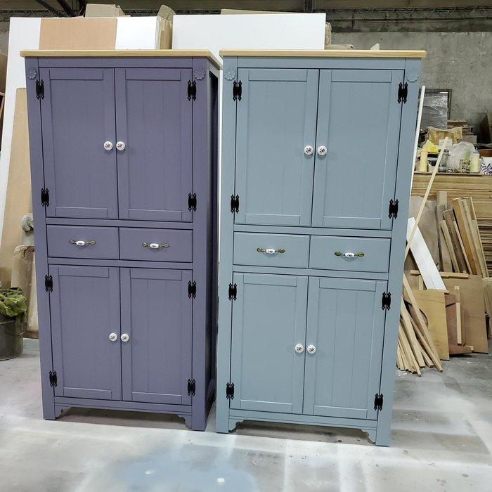 美生活館 家具訂製 鄉村風格 茵儷 雙色 兩抽四門 高鞋櫃 收納櫃 玄關櫃 置物櫃 衣帽櫃--可淺木 紫灰或藍灰色