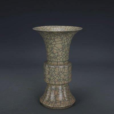 ㊣姥姥的寶藏㊣ 宋代哥窯金絲鐵線支釘花觚瓶  出土文物古瓷器 古玩古董收藏