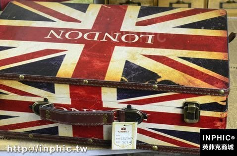 INPHIC-英國旗手提箱復古國旗木箱 婚紗攝影道具櫥窗陳列箱子-大英國中款_S2787C