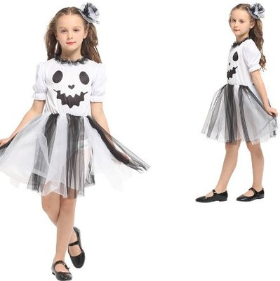 乂世界派對乂萬聖節服裝/幽靈服裝/白鬼服裝/俏皮幽靈小女孩