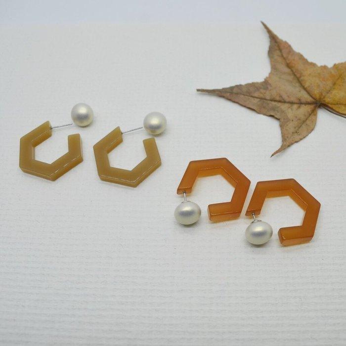 正韓 兩戴系列-霧面 珍珠 五角 圈圈耳環-奶茶色/半透明褐色-共五色-抗過敏 鋼針