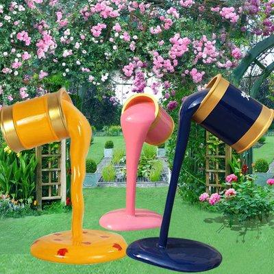 戶外創意彩繪油漆桶玻璃鋼雕塑園林景觀顏料桶裝飾房地產小區擺件小豬佩奇