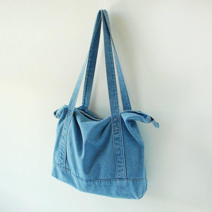 【里樂@ LeaThER】水洗單寧風牛仔包 托特包 購物袋 書包 帆布包 604