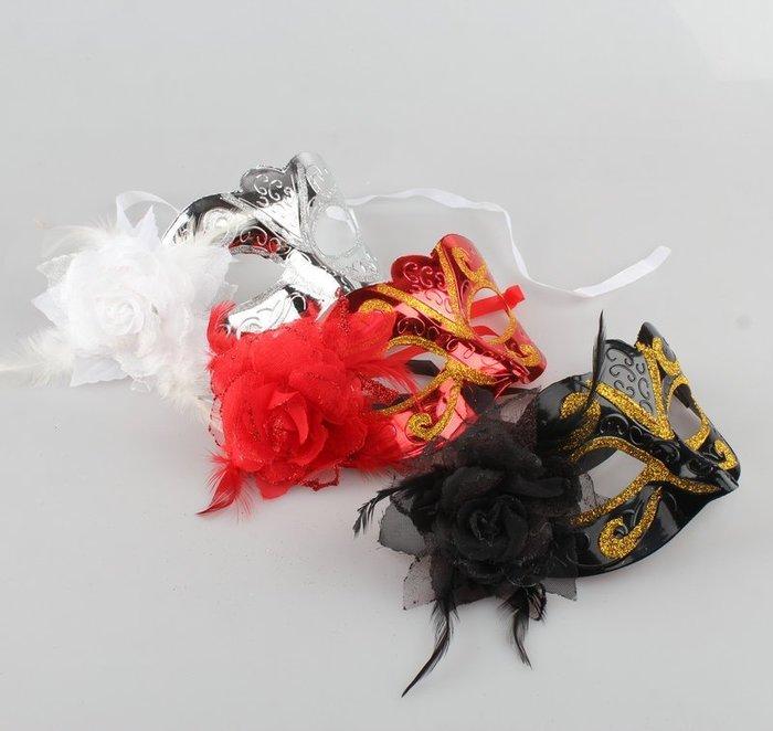 威尼斯 側面帶花 亮曲面 羽毛 半臉 彎曲面具/眼罩/面罩 cosplay 表演 舞會 派對 整人【A770019】