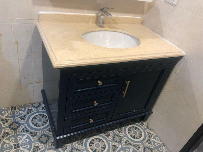 FUO衛浴:低調大器深寶藍色古典浴櫃大理石台面FUO3971