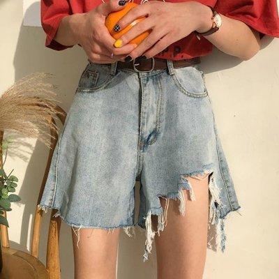 夏裝韓版破洞牛仔短褲女學生高腰寬松顯瘦闊腿熱褲