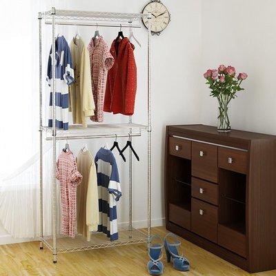 [客尊屋] 鍍鉻 46X91X210H(接)雙衣桿三段衣櫥/鍍鉻層架/雙衣桿/衣服收納櫃/衣架
