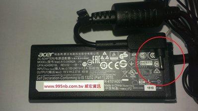 ACER筆電維修 Aspire V 13 ADP-45HE B A13-045N2A 19v 2.37a 45W 變壓器