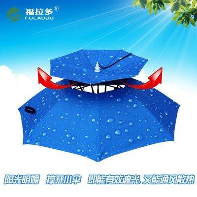 雙層防風防雨釣魚傘帽頭戴雨傘 防曬 摺...