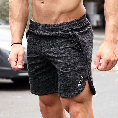 肌肉訓練兄弟夏季男士透氣運動薄款中褲速干跑步健身五分褲短褲彈