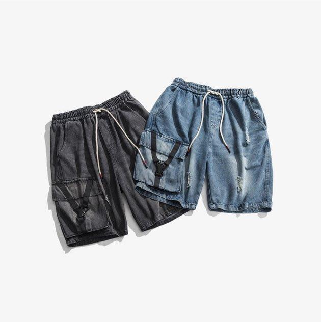FINDSENSE 正韓薄款短褲 G6 2019夏款新款織帶口袋牛仔短褲休閒褲牛仔褲男褲