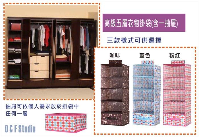 居家達人 : 高級五層衣物掛袋(含一抽屜) 衣櫥掛袋/衣櫃掛袋/收納箱/整理箱 滿888免運費