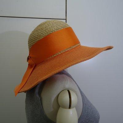 ☆注目の日本帶回mire-ru  夏新款橘色大蝴蝶結遮陽草帽☆