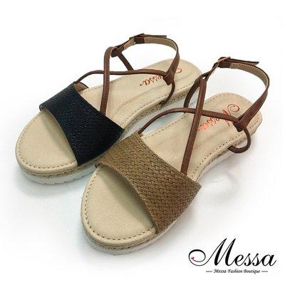 厚底涼鞋-Messa米莎 草編風繫踝厚底涼鞋-二色 JE807