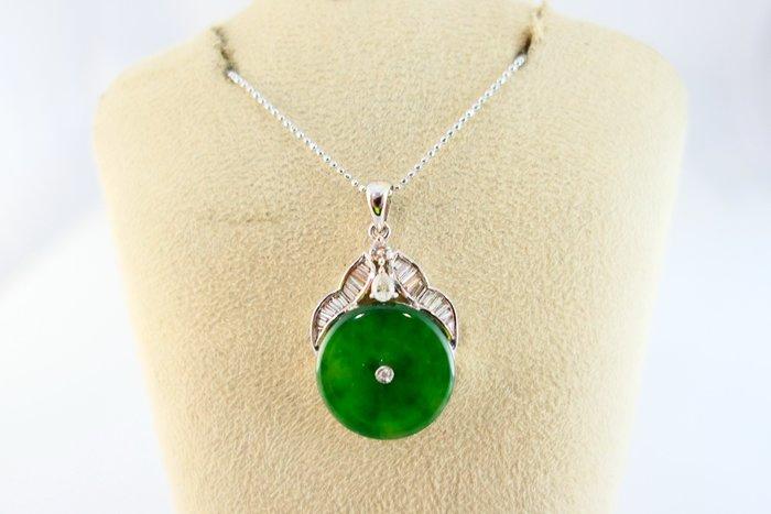 [吉宏精品交流中心]A貨 天然翡翠 天然鑽石 白K金 綠色 古錢造型 墬子