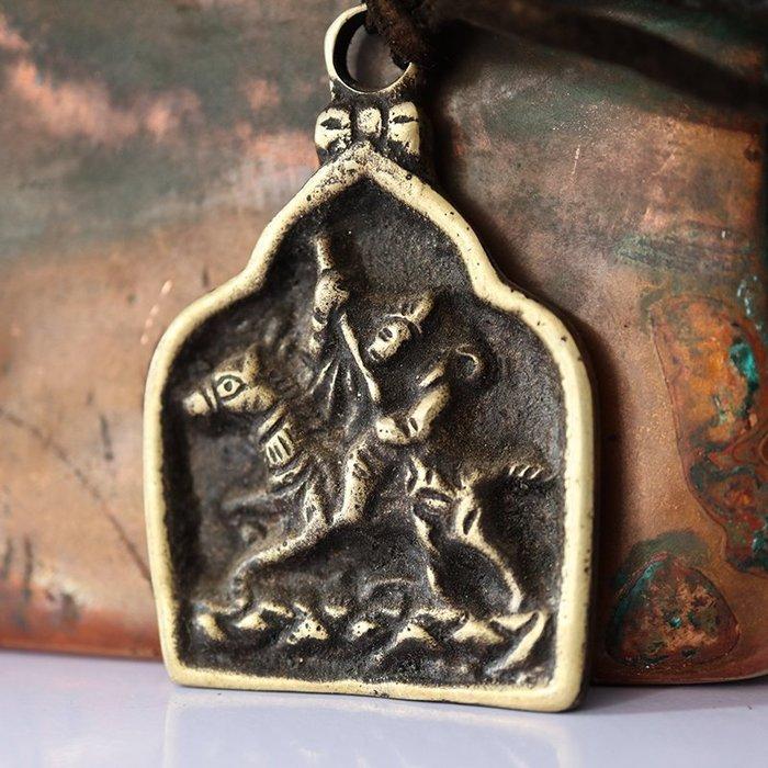 【弘慧堂】 西藏手工純銅格薩爾王擦擦印藏式民族風手工格薩爾王吊墜 格薩爾王吊墜 辟邪 驅邪