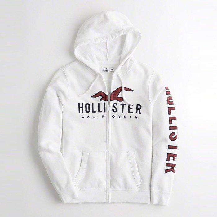 【HOLLISTER Co.】【HCO】HC男款棉質連帽外套紅大鷗黑藍字臂字白 F07181004-02