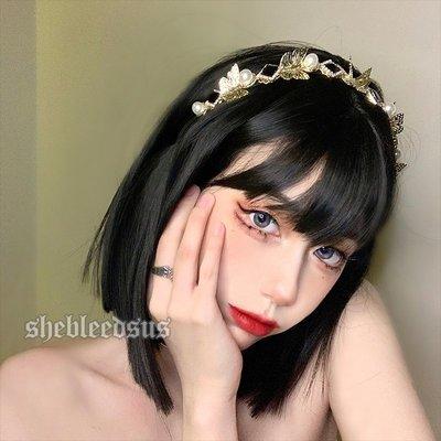 RORO韓國專櫃~德魯納酒店iu同款宮廷復古少女氣質蝴蝶珍珠髮箍FG011