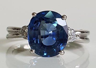 無燒 天然藍寶石,天然藍寶石 3.4克拉 + 天然鑽石 0.17克拉 + PT900 鑽戒 , 保證真鑽 附雙份鑑定書!