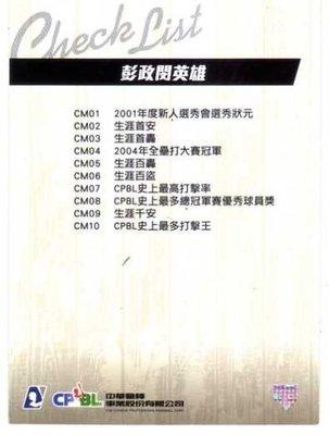 2012 中華職棒 年度球員卡 CHECK LIST 彭政閔英雄