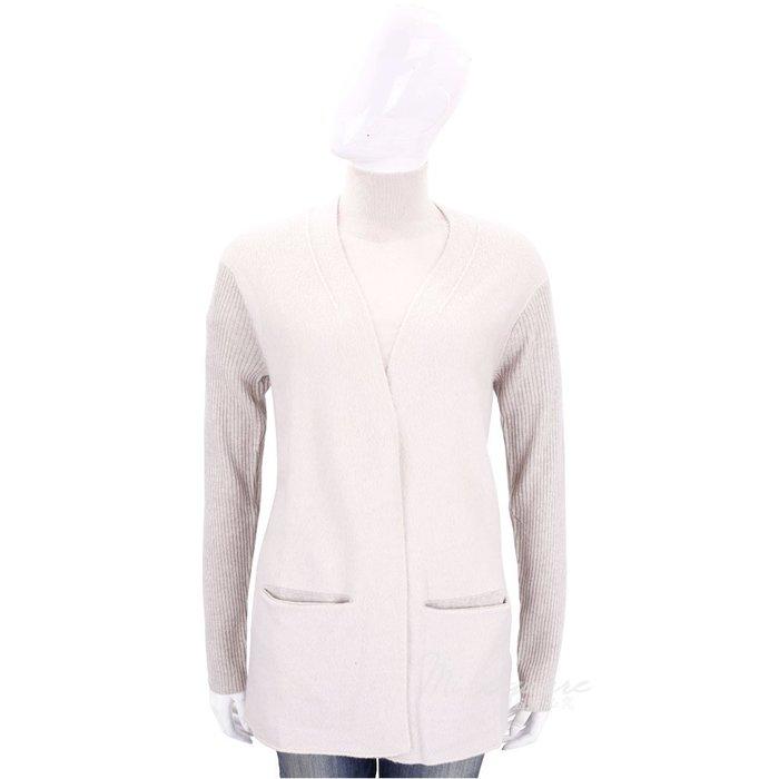 米蘭廣場 ALLUDE 米咖色直紋拼接設計羊毛針織外套(51%WOOL) 1710084-03