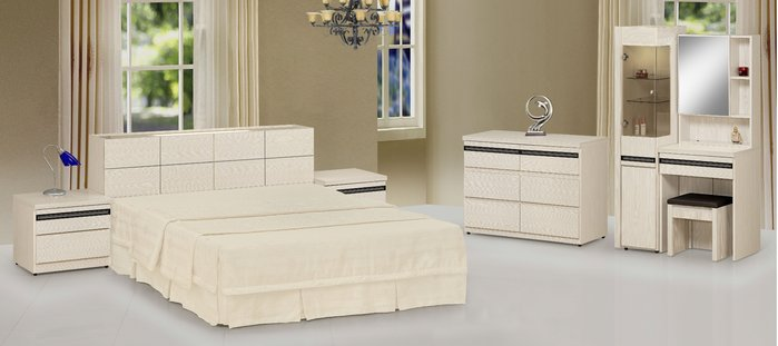 FA-029-A組 雪杉白被櫥雙人床組(雙人床+床頭櫃x2+斗櫃+鏡台含椅)大台北區/家具/沙發/高低櫃/餐桌椅/1元起
