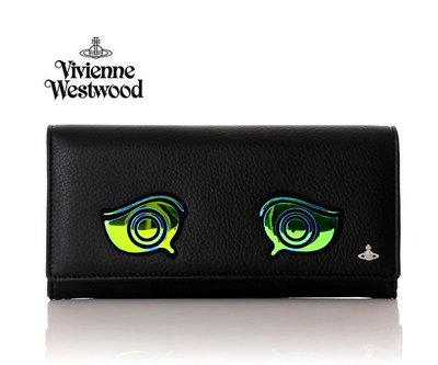 Vivienne Westwood ( 黑色×雷射綠眼睛 ) 真皮兩摺長夾 皮夾 錢包 中性款|100%全新正品|斷貨勿標