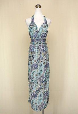 貞新二手衣 水藍印度民俗圖紋V領露背無袖棉質洋裝F號(10414)