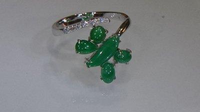 #帝王綠18k金鑲鑽造型活圍戒指  專賣緬甸A貨翡翠