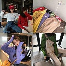 純色T恤女秋裝2018新款韓版chic學生圓領寬松長袖打底衫內搭上衣